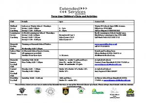 Term time Children s Clubs and Activities