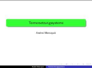 Termersetzungssysteme. Andrei Morozyuk