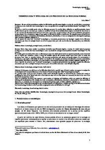 TERMINOLOGIA Y TIPOLOGIA DE LOS PROCESOS DE LA NEOLOGIA FORMAL