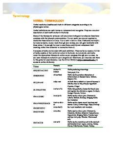 Terminology HERBAL TERMINOLOGY