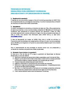 TERMINOS DE REFERENCIA CONSULTORIA PARA CORPORATE FUNDRAISING AREA SOLICITANTE: PFP (RECAUDACION DE FONDOS)