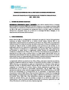TERMINOS DE REFERENCIA PARA LA PRESTACION DE SERVICIOS PROFESIONALES