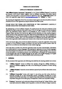 TERMS AND CONDITIONS AFFILIATE PROGRAM AGREEMENT