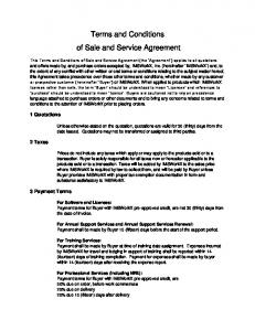 Terms and Conditions of Sale and Service Agreement