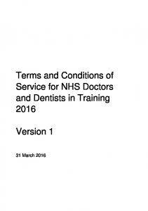 Terms and Conditions of Service for NHS Doctors and Dentists in Training Version 1
