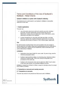 Terms and Conditions of the Use of Sydbank s NetBank Retail Clients