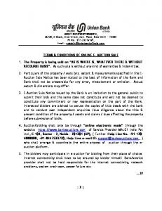 TERMS & CONDITIONS OF ONLINE E- AUCTION SALE