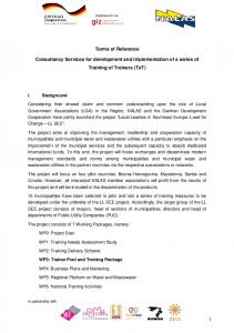 Terms of Reference. Consultancy Services for development and implementation of a series of Training of Trainers (ToT)