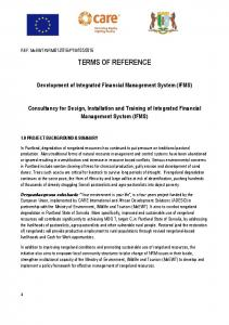TERMS OF REFERENCE. Development of Integrated Financial Management System (IFMS)
