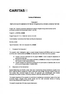 Terms of Reference. Evaluation: Cash and voucher assistance for Syrian refugees and vulnerable Jordanian families