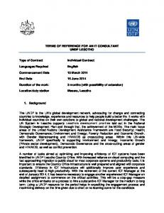 TERMS OF REFERENCE FOR AN IT CONSULTANT UNDP LESOTHO