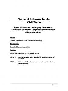 Terms of Reference for the Civil Works