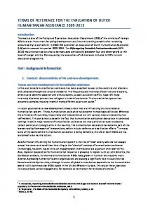 TERMS OF REFERENCE FOR THE EVALUATION OF DUTCH HUMANITARIAN ASSISTANCE