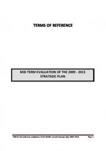 TERMS OF REFERENCE MID TERM EVALUATION OF THE STRATEGIC PLAN