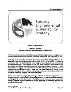 TERMS OF REFERENCE. Steering Committee Burnaby Environmental Sustainability Strategy (ESS)