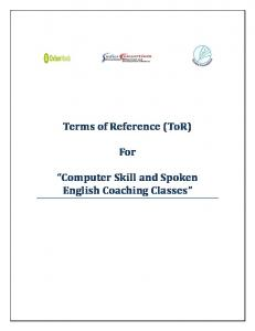 Terms of Reference (ToR) For. Computer Skill and Spoken English Coaching Classes