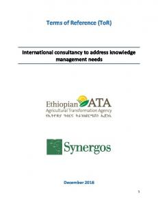 Terms of Reference (ToR) International consultancy to address knowledge management needs