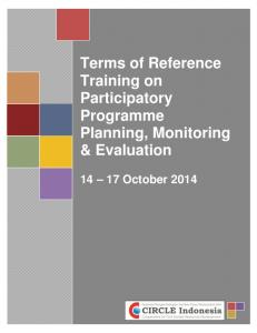 Terms of Reference Training on Participatory Programme Planning, Monitoring & Evaluation