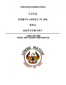 TERO COMPLIANCE PLAN AND AGREEMENT