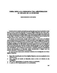 TERRA SIGILLATA HISPANICA: UNA APROXIMACION AL ESTADO DE LA CUESTION