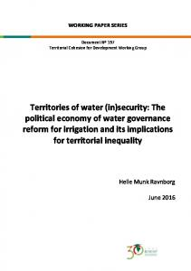 Territories of water (in)security: The political economy of water governance reform for irrigation and its implications for territorial inequality