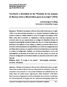 Territorio e identidad en las Noticias de los campos de Buenos Aires y Montevideo para su arreglo [1794]