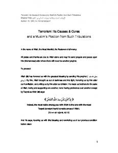 Terrorism: Its Causes & Cures and a Muslim s Position from Such Tribulations