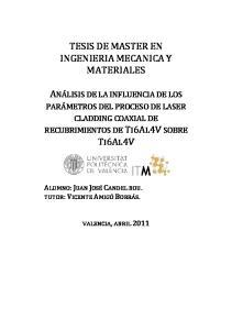 TESIS DE MASTER EN INGENIERIA MECANICA Y MATERIALES
