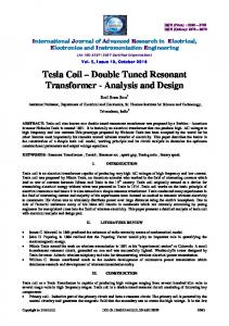 Tesla Coil Double Tuned Resonant Transformer - Analysis and Design