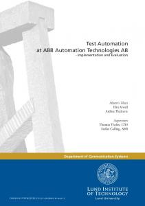 Test Automation at ABB Automation Technologies AB - Implementation and Evaluation