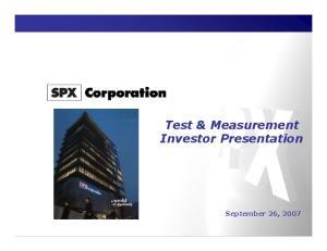 Test & Measurement Investor Presentation
