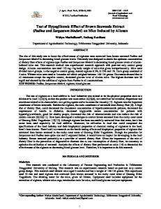 Test of Hypoglikemic Effect of Brown Seaweeds Extract (Padina and Sargassum binderi) on Mice Induced by Alloxan