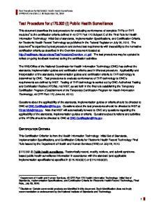 Test Procedure for (l) Public Health Surveillance