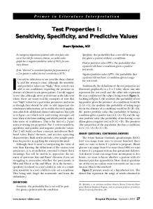 Test Properties 1: Sensitivity, Specificity, and Predictive Values