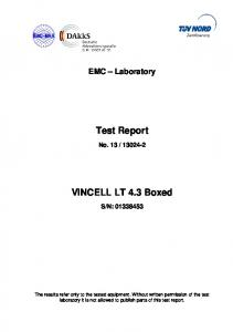Test Report. VINCELL LT 4.3 Boxed
