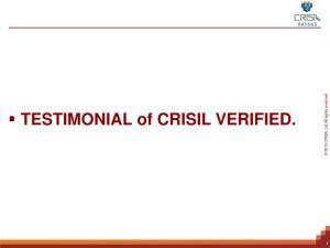 TESTIMONIAL of CRISIL VERIFIED