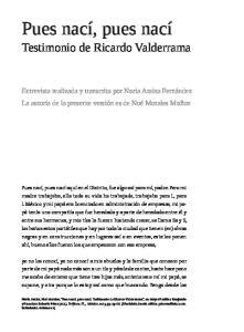 Testimonio de Ricardo Valderrama