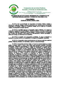TESTIMONIO DEL ESTATUTO SOCIAL REFORMADO DE LA COOPERATIVA DE SERVICIOS PUBLICOS, SOCIALES Y VIVIENDA DE AVELLANEDA LTDA