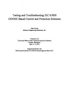 Testing and Troubleshooting IEC GOOSE-Based Control and Protection Schemes
