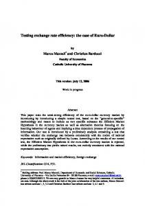 Testing exchange rate efficiency: the case of Euro-Dollar