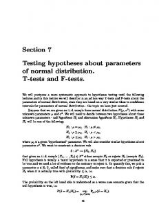 Testing hypotheses about parameters of normal distribution. T-tests and F-tests