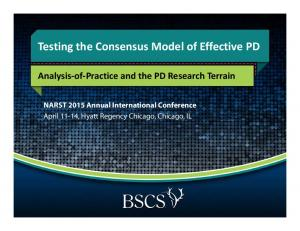 Testing the Consensus Model of Effective PD