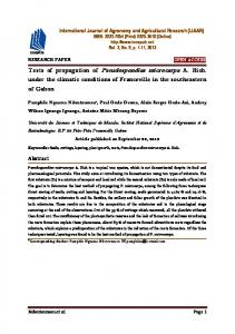 Tests of propagation of Pseudospondias microcarpa A. Rich. under the climatic conditions of Franceville in the southeastern of Gabon
