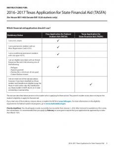 Texas Application for State Financial Aid (TASFA)