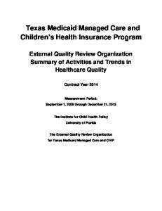 Texas Medicaid Managed Care and Children s Health Insurance Program