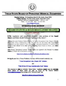 TEXAS STATE BOARD OF PODIATRIC MEDICAL EXAMINERS