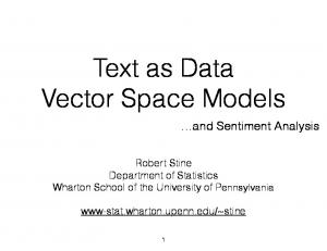 Text as Data Vector Space Models
