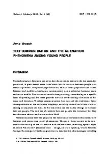 TEXT COMMUNICATION AND THE ALIENATION PHENOMENA AMONG YOUNG PEOPLE