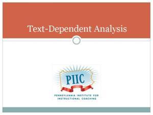 Text-Dependent Analysis