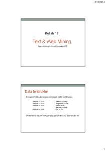 Text & Web Mining Data Mining Ilmu Komputer IPB